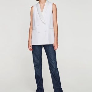 Zara Double Breasted Vest with Satin